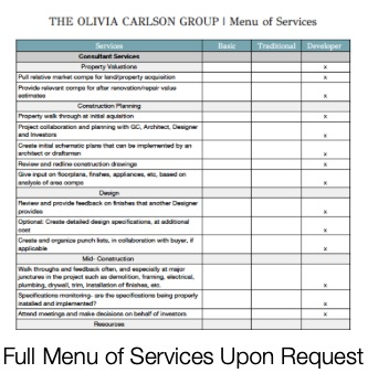 Menu of Services